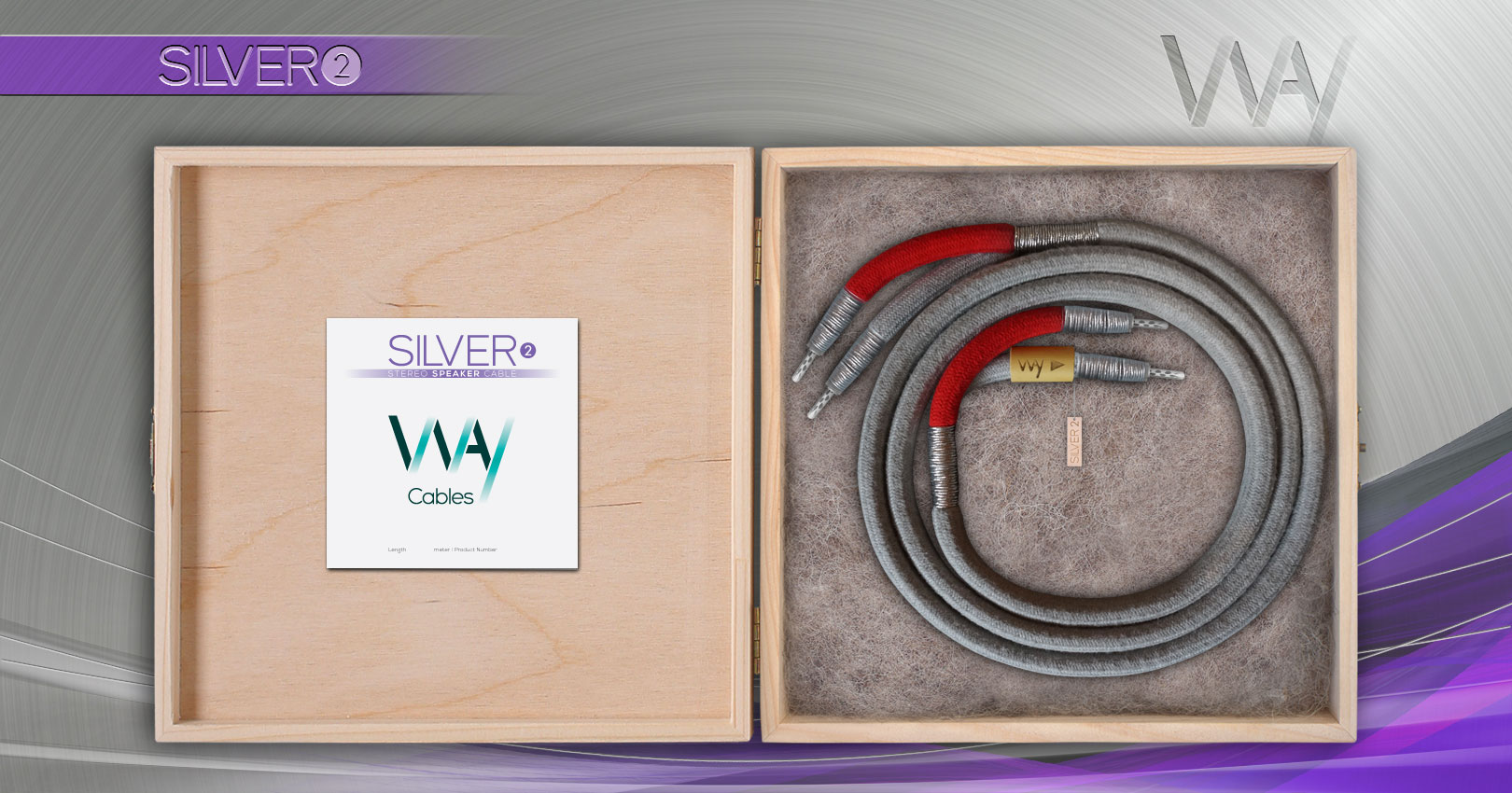 Way Cables SILVER 2 speaker cable - Gray cotton - WireWorld Uni-Term Silver banana plugs