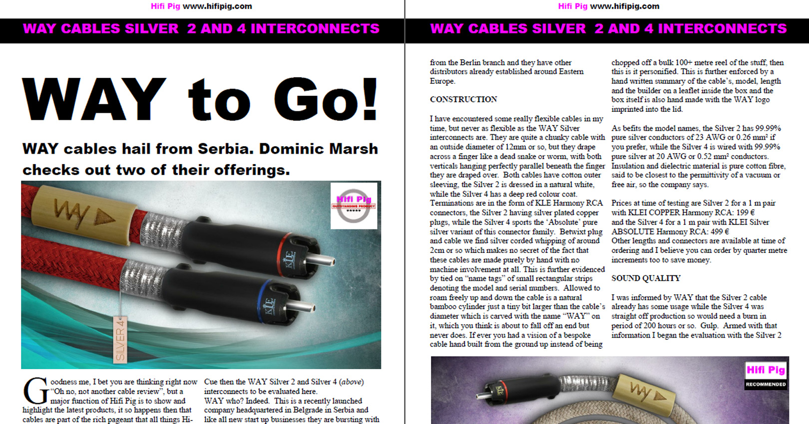 PDF of Way Cables interconnects awards by-Hi Fi Pig EXTRA Magazine, Sept. 2015
