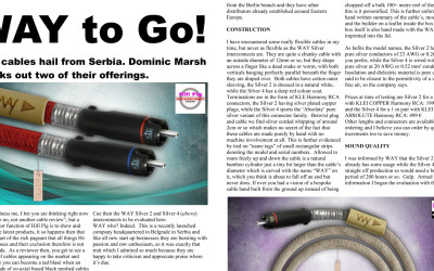 Highest awards for Way Cables interconnects Silver 4 and Silver 2 from HiFi Pig Magazine