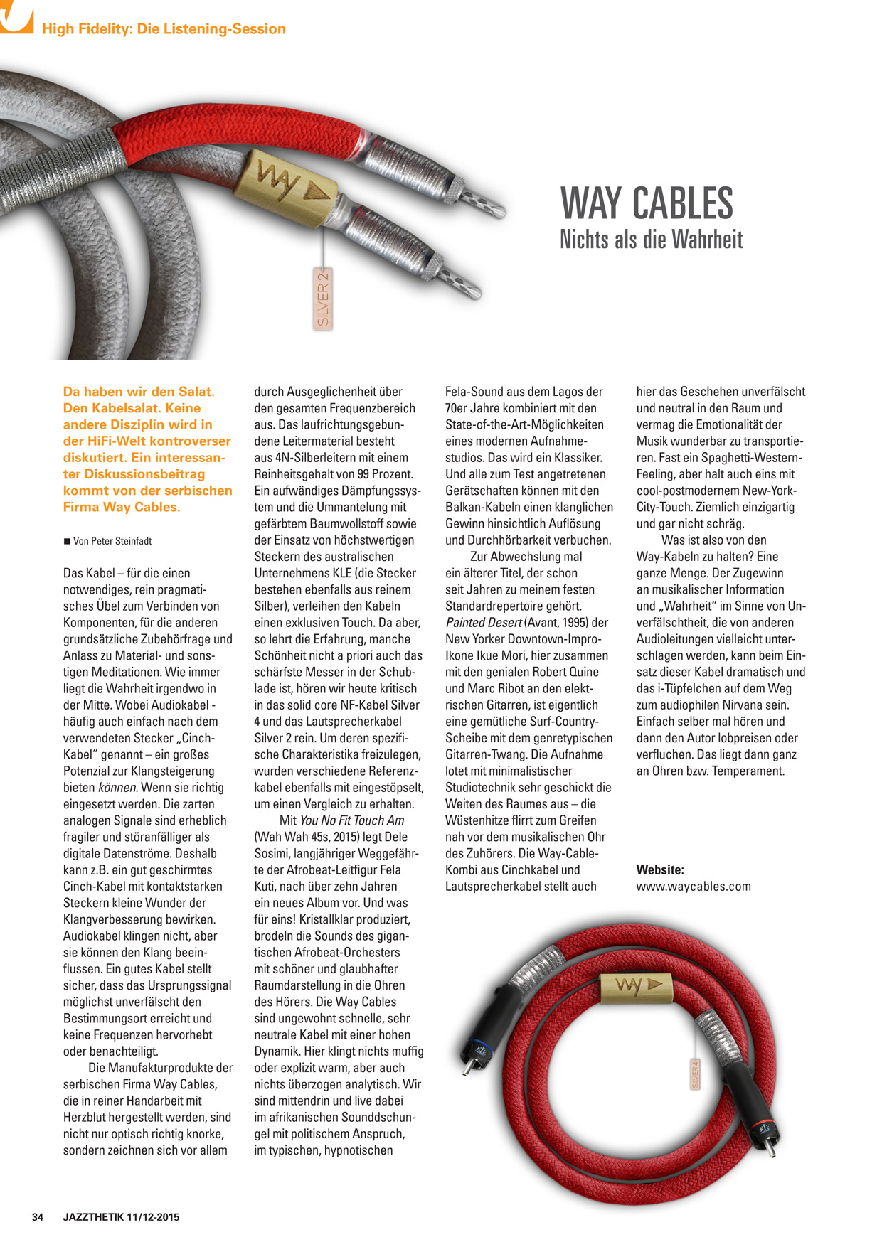 WAY Cables review - uberprufung Jazzthetik Magazin Nov-Dec 2015